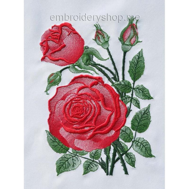 Розы вышивка машинная 8