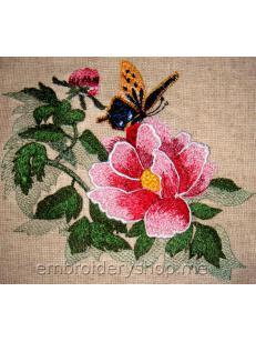 Дизайн вышивки цветок с бабочкой flw0125