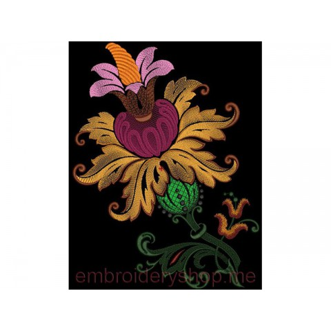 Машинная вышивка цветами