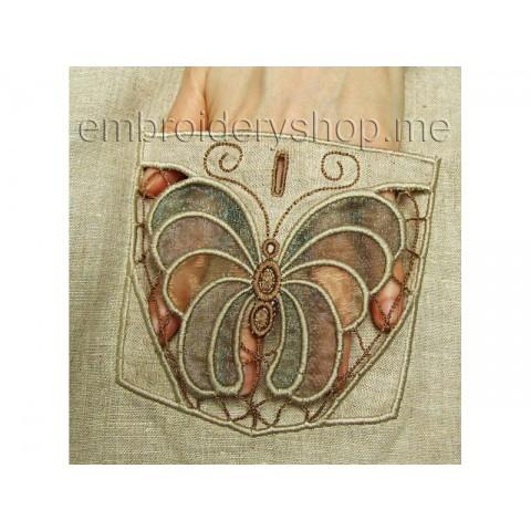 Бабочка, ришелье для украшения кармана cut0021