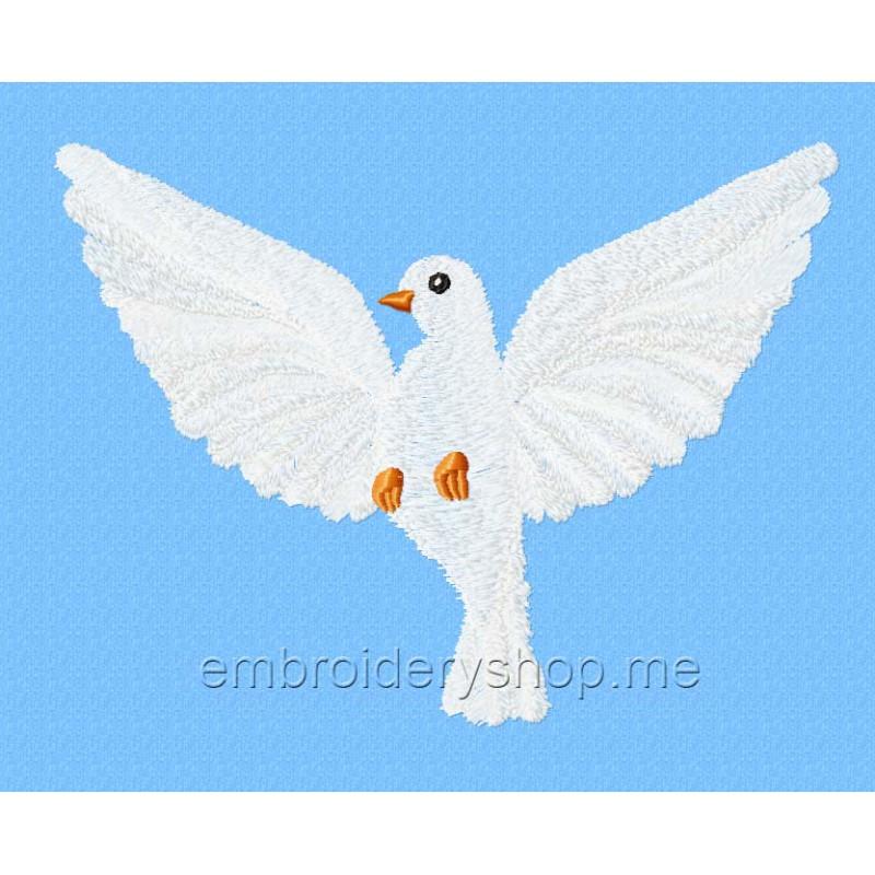 Машинная вышивка голубь