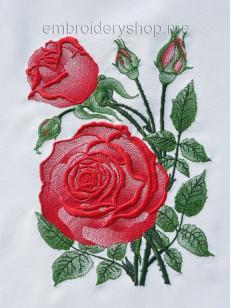 Роза «Вдохновение» flw0116 фото вышивки на белом фоне