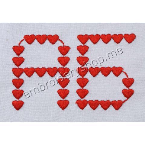 Шрифт сердечки русский 50 мм f0022