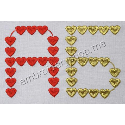 Шрифт сердечки русский 75 мм f0023