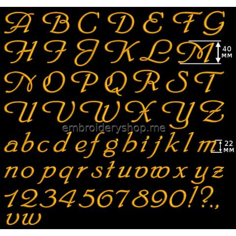 Шрифт английский 40 мм f0027