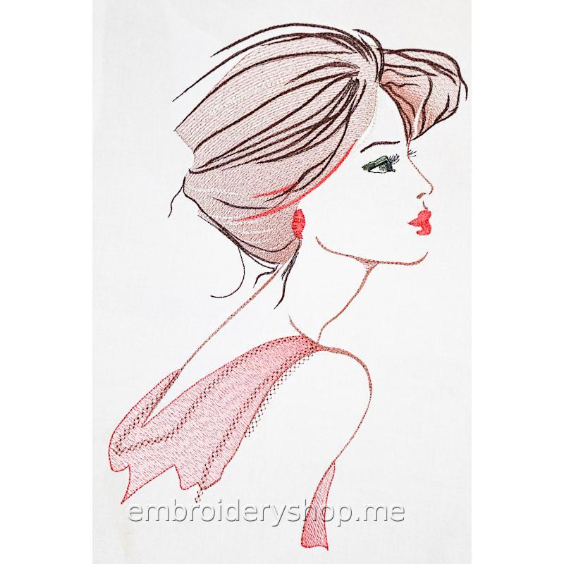 Дизайн машинной вышивки Девушка в красном ppl0032
