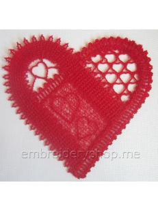 Дизайн машинной вышивки кружевное сердце fsl0058