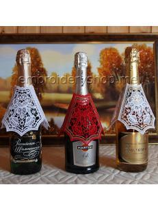 Дизайн вышивки Кружевное украшение на бутылку и бокал fsl0065