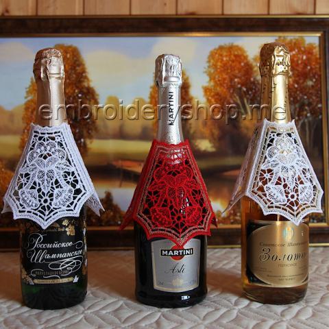 Кружевное украшение на бутылку и бокал fsl0065