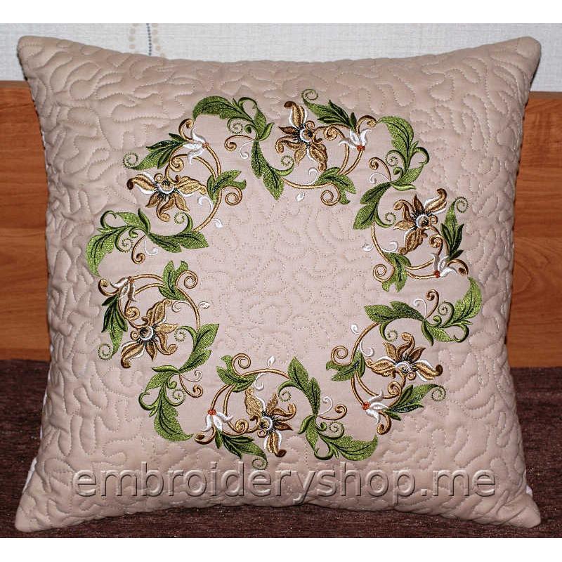 Дизайн машинной вышивки Узор «Зелёный венок» abs0024