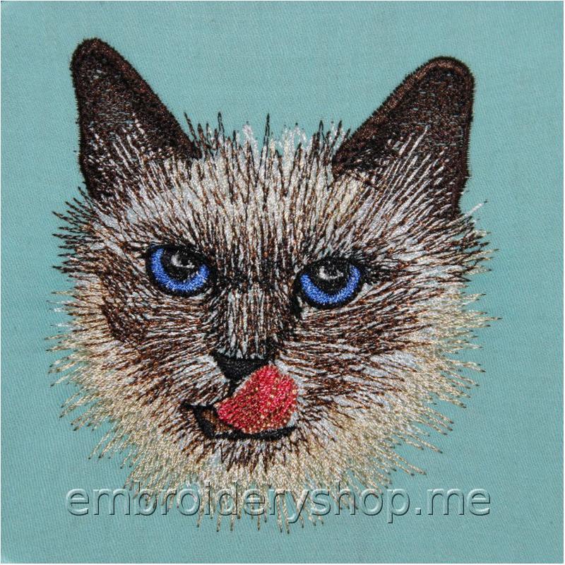 Дизайн машинной вышивки Сиамский котик cat0019
