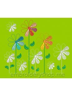 Дизайн машинной вышивки Цветочный калейдоскоп flw0136