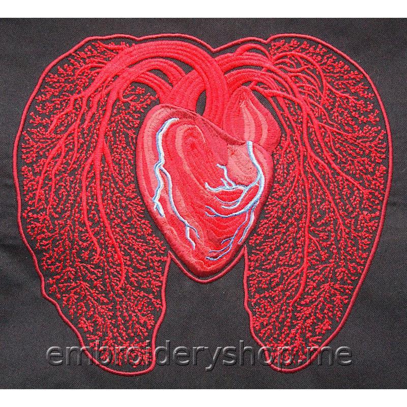 Дизайн машинной вышивки Сердце hrt0015