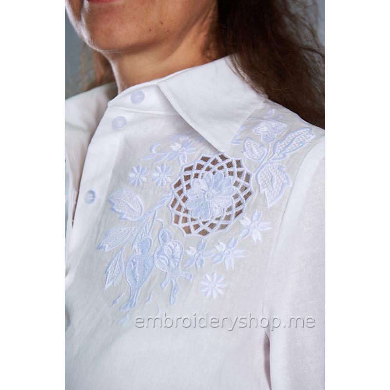 Дизайн машинной вышивки Белая роза «Вдохновение» flw0139