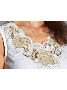 Дизайн машинной вышивки Ришелье «Цветочная фантазия» cut0052