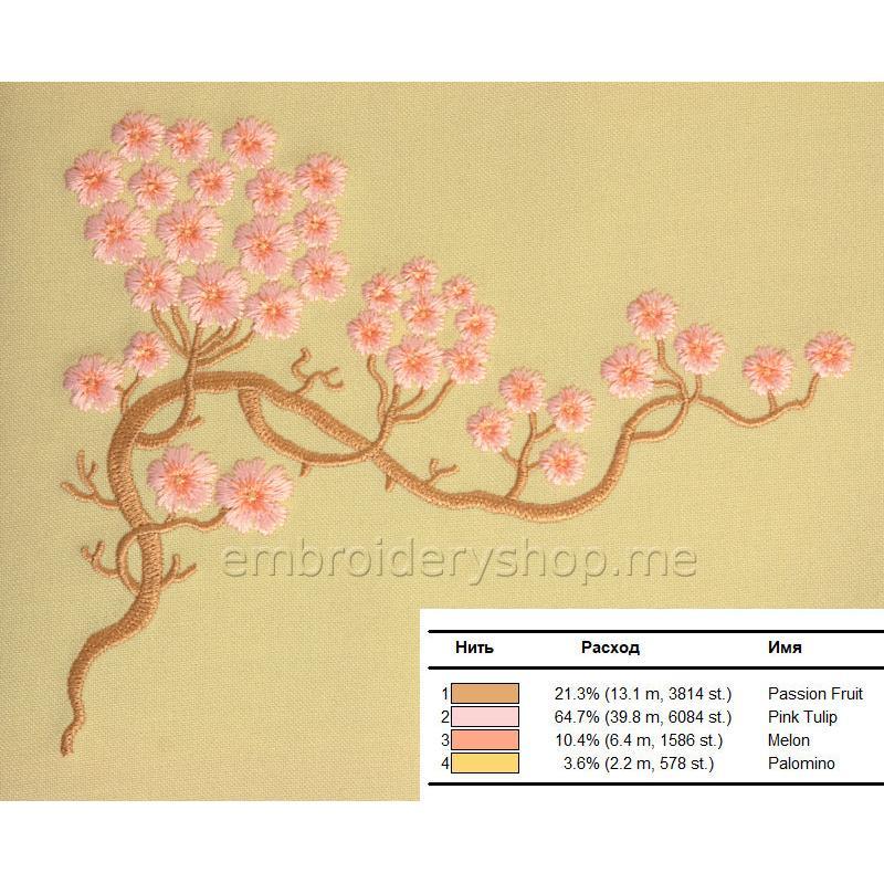 Дизайн машинной вышивки Сакура flw0140