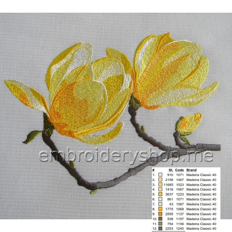 Дизайн машинной вышивки Магнолия flw0143