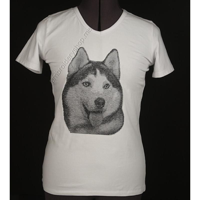 Дизайн машинной вышивки Хаски dog0024
