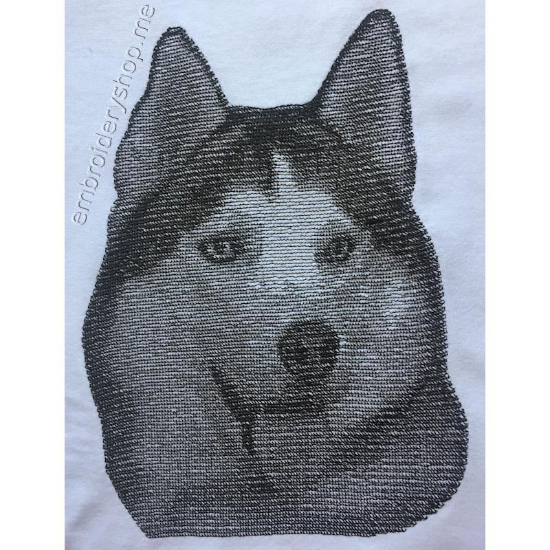 Дизайн машинной вышивки Хаски dog0025