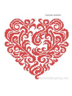Дизайн машинной вышивки Сердце crs0016