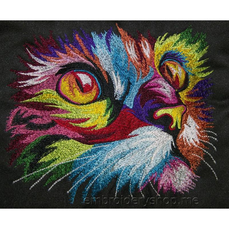 Дизайн машинной вышивки Радужный кот cat0020