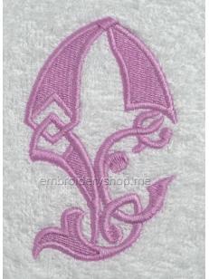 Дизайн компьютерной машинной вышивки Монограмма буква Е f0041_06