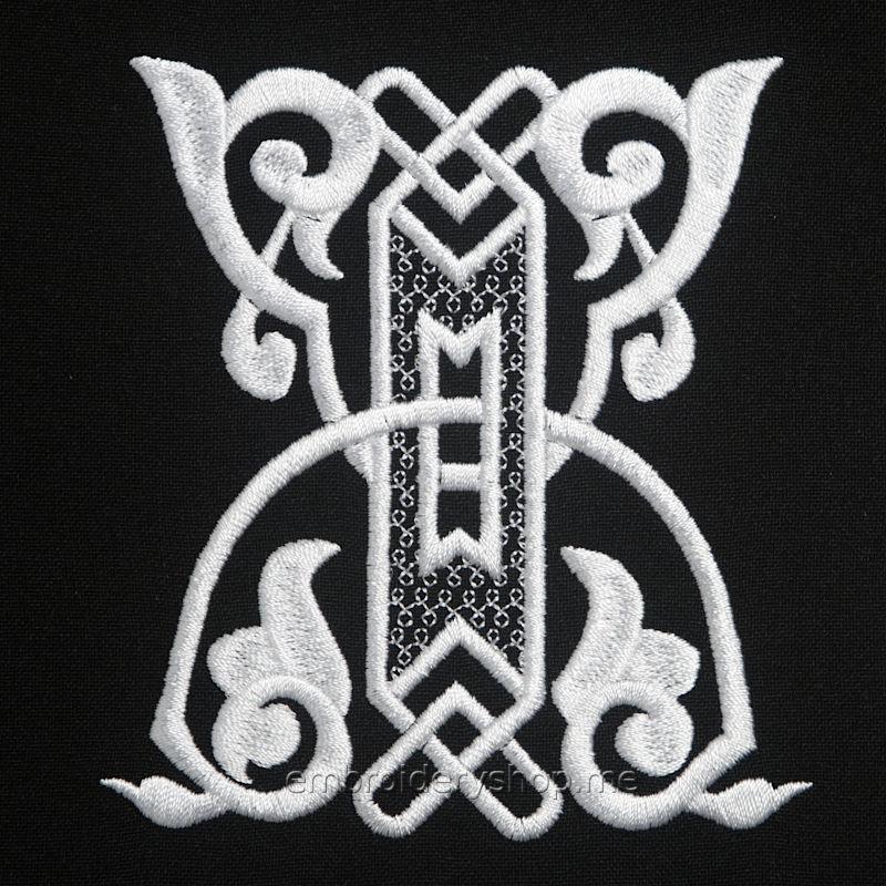 Дизайн вышивки Монограмма русская буква Ж f0040_08