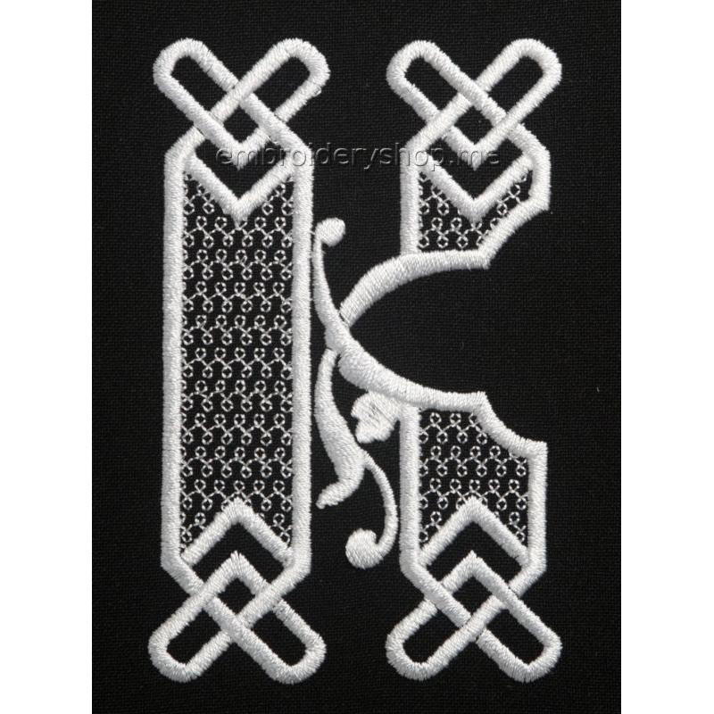 Дизайн компьютерной вышивки Монограмма буква К f0040_12